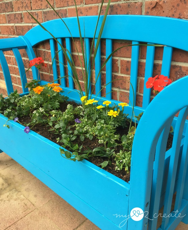 Bench Repurposed into a Planter