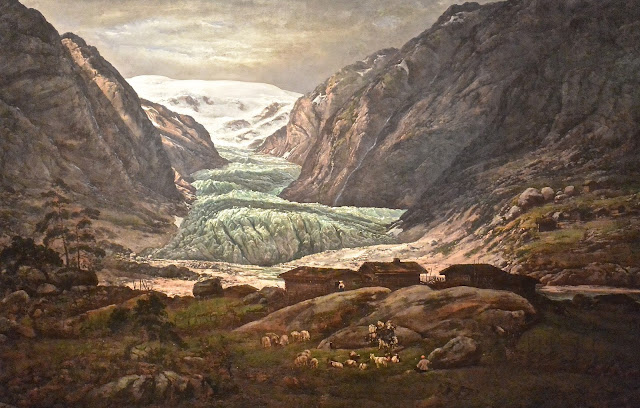 Norvège : le galcier de Nigar peint par Johan ChristianDahl : Nigarsbreen (1844)