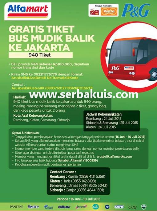 Promo Alfamart Berhadiah 940 Tiket Bus Mudik Balik ke Jakarta