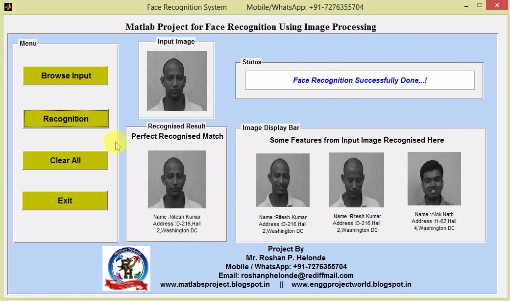 Matlab Project for Face Recognition Using Image Processing