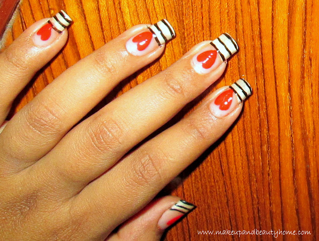 Easy stripes and heart nail art tutorial do it yourself - Nail designs do it yourself at home ...