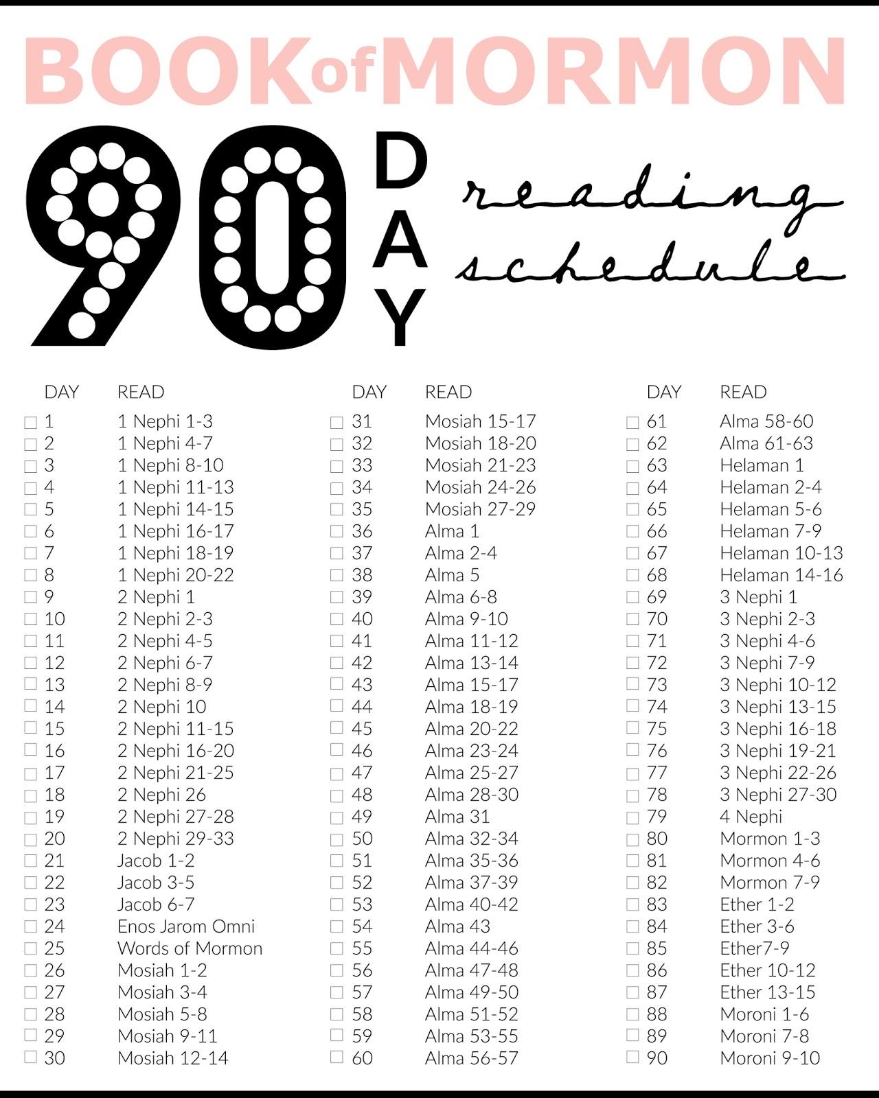 Printable Book Of Mormon 90 Days Reading Chart
