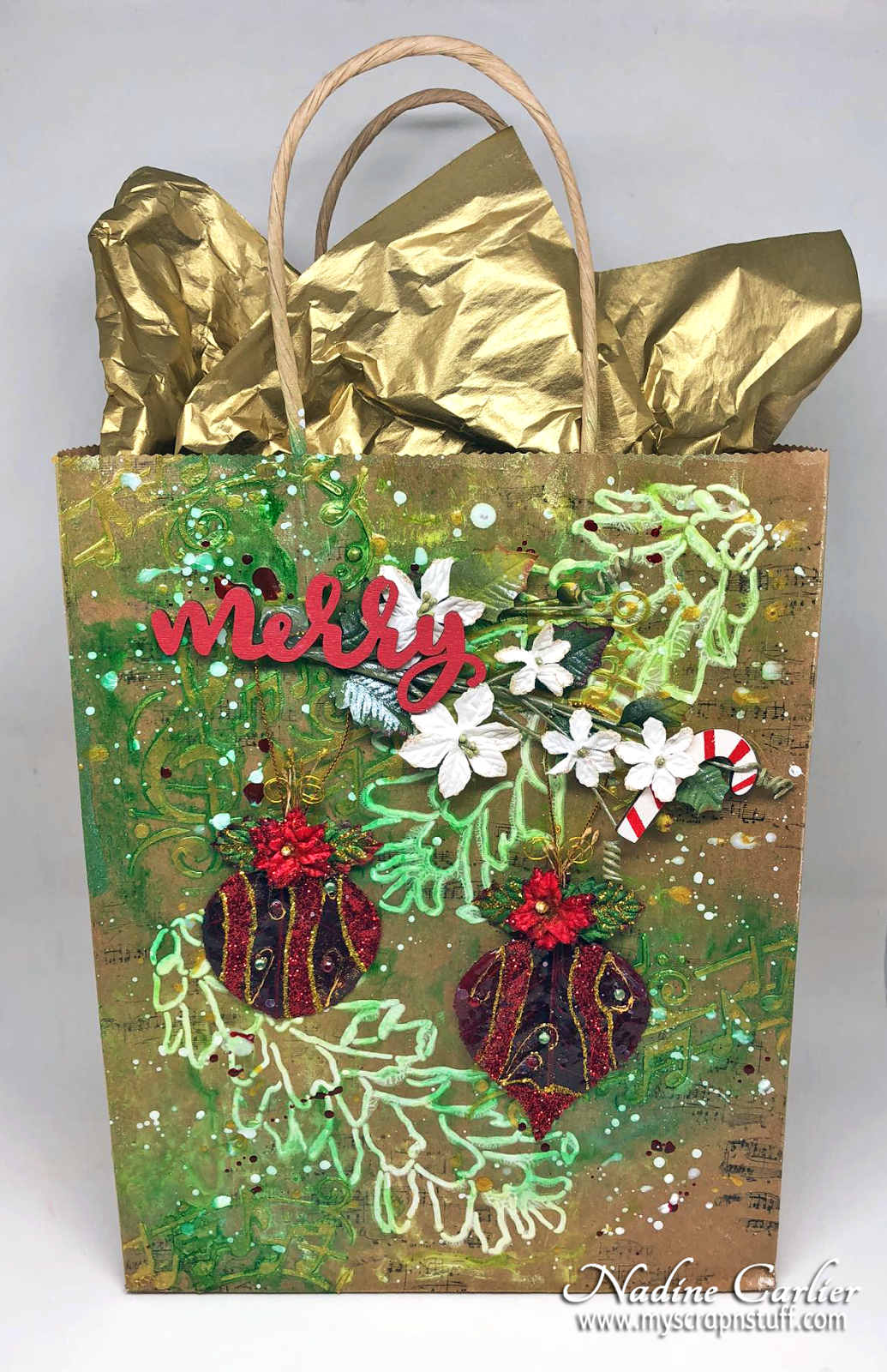 Nadine Carlier Diy Mixed Media Christmas Gift Bag