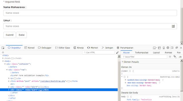 Menampilkan Pesan Error Dengan Bootstrap dan PHP