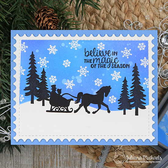 Winter silhouette card by Juliana Michaels | Winter Memories Stamp Set  by Newton's Nook Designs  #newtonsnook #handmade