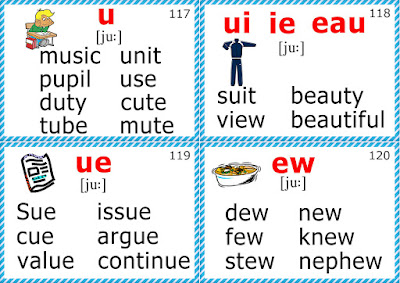 esl phonics flashcards long u sound