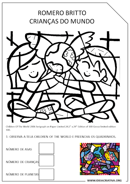 Atividade com tela Romero Britto Children oh The World