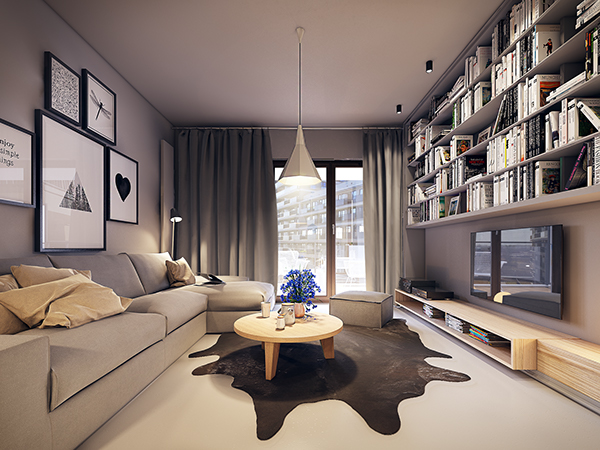 of each rooms living room and bedroom has a brownish white color support for relaxing you while the bright white color is applied in the kitchen - Warm Interiors Design Home Color