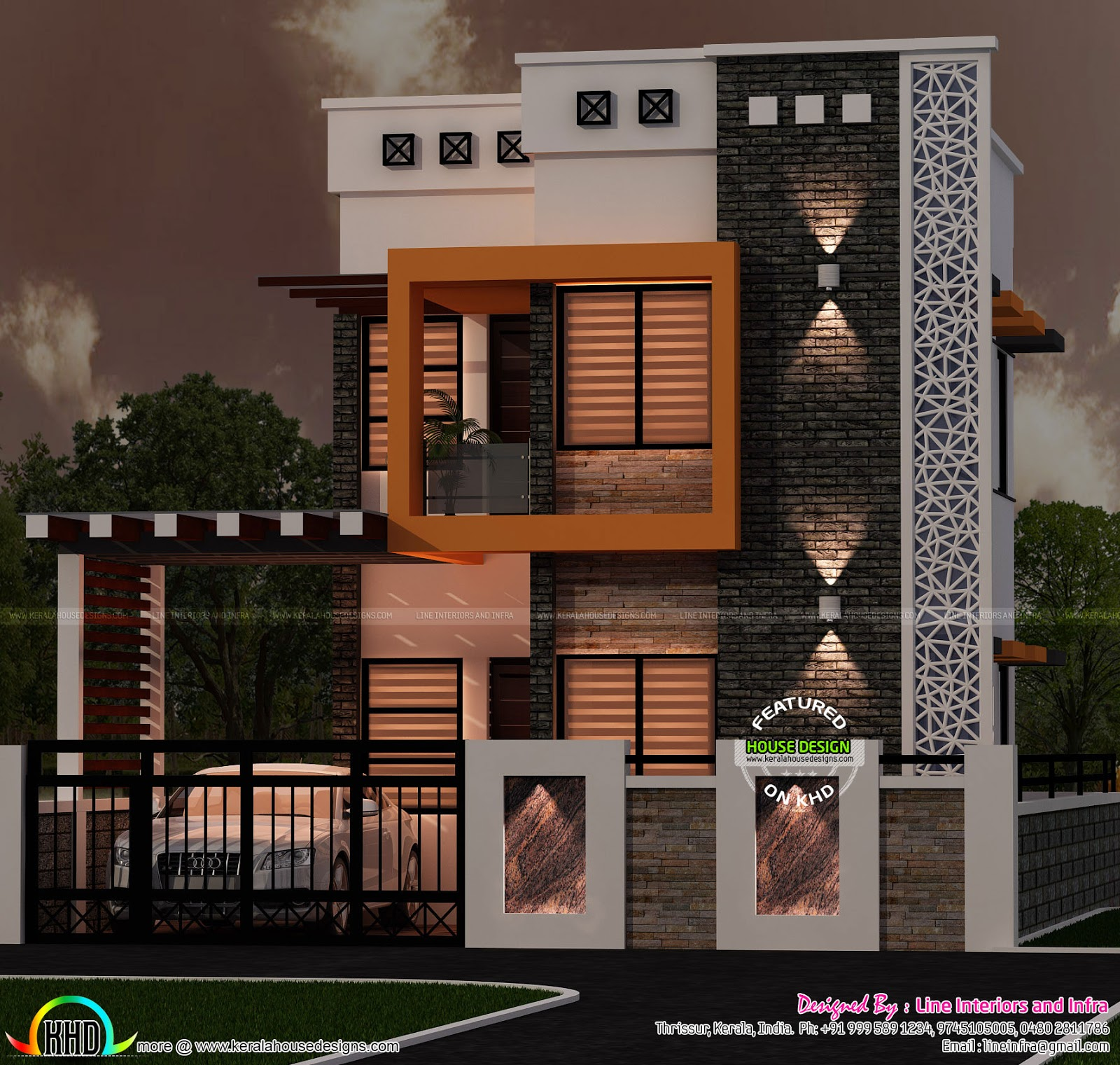 April 2016 kerala home design and floor plans for Normal home front design
