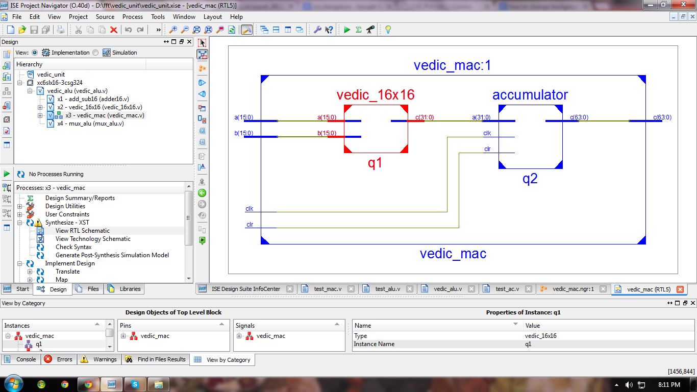 Vlsi Verilog Design And Implementation Of 16 Bit Vedic Arithmetic Unit 8 Multiplier Circuit Diagram Referece Papers