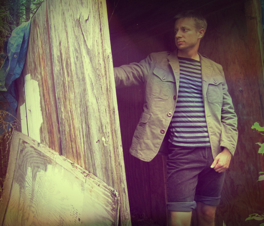 100% Cotton Men's GAP Utility Jacket; Heathered boater tee; Vintage Skinny-wale cord Bremudas