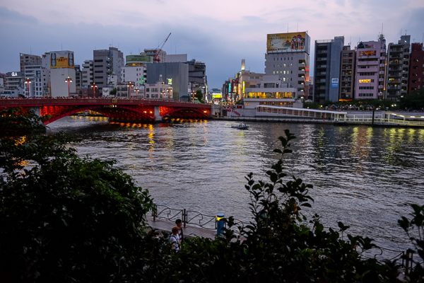 Daylight on the Sumida River, just before the lanterns are set afloat at the Toro Nagashi Festival.