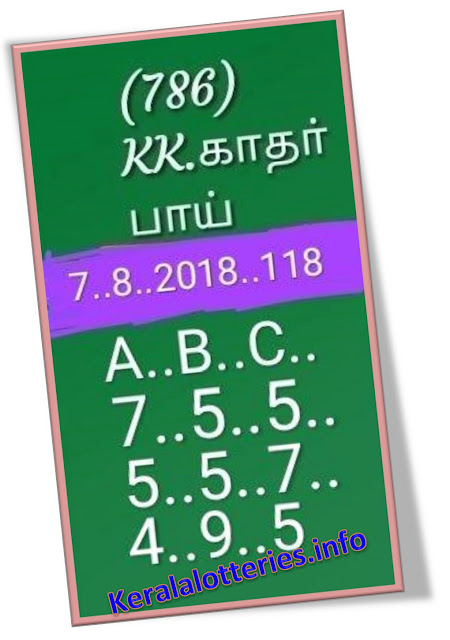 KK Kerala Lottery abc all board Guessing  Sthree Sakthi SS-118 07-08-2018, Kerala lottery prediction, Kerala lottery guessing,