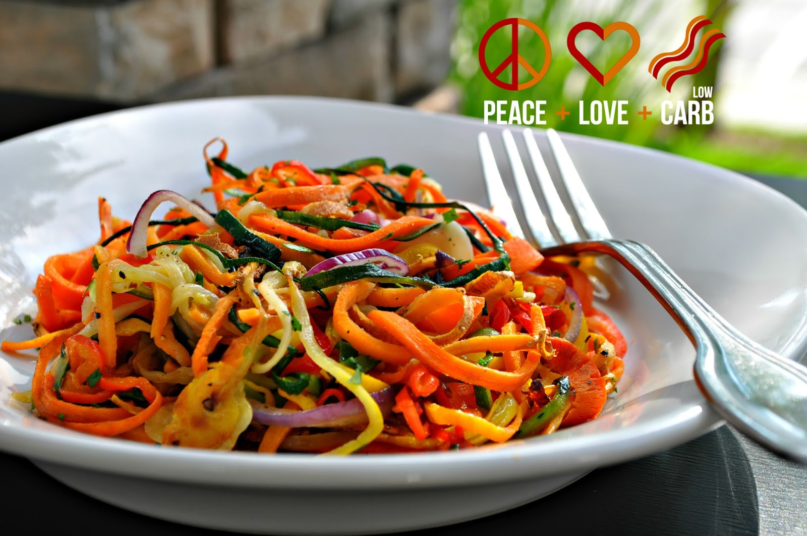 Rainbow Vegetable Noodles | Peace Love and Low Carb