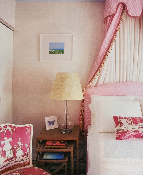 Pink and White Toile de Jouy Bedroom - Interiors Decor