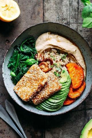 Sesame Crusted Hoisin Tofu Buddha Bowls