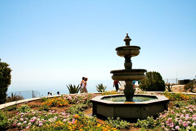 fiori, aiuola, fontana, cielo, Anacapri