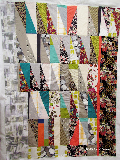 improv pieced half rectangle triangle quilt with big thread slow stitching - marty mason