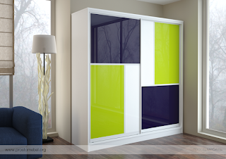A Colored Mirrored Cabinet