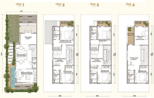 Mặt bằng thiết kế liền kề Vinhomes Thăng Long- lô 123 m2