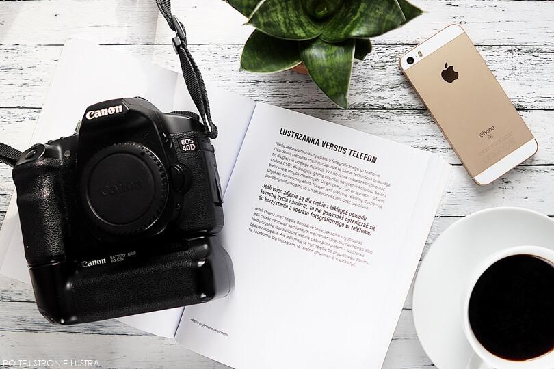 lustrzanka canon eos 40D i iPhone SE