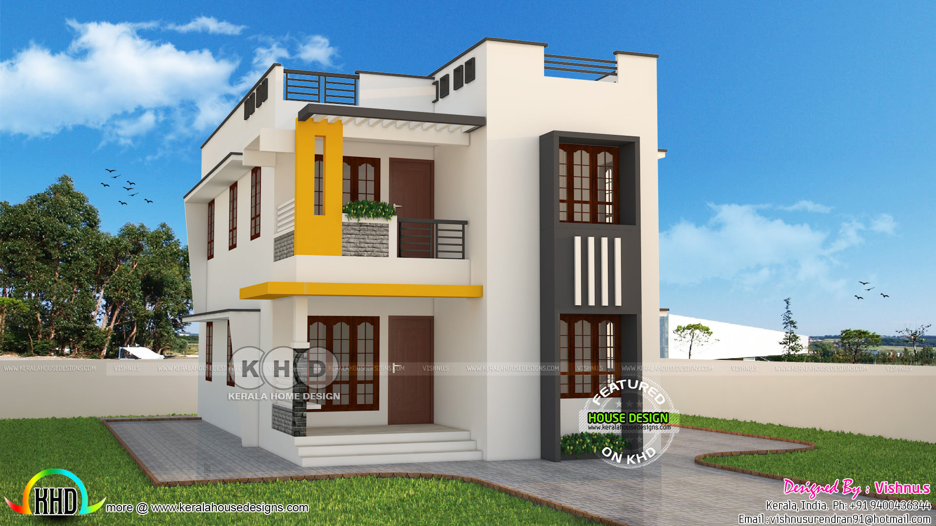 Cute and stylish contemporary home 1600 sq ft kerala for Modern house plans for 1600 sq ft