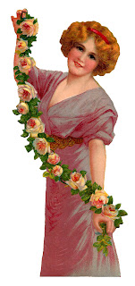 woman victorian rose image antique clipart illustration