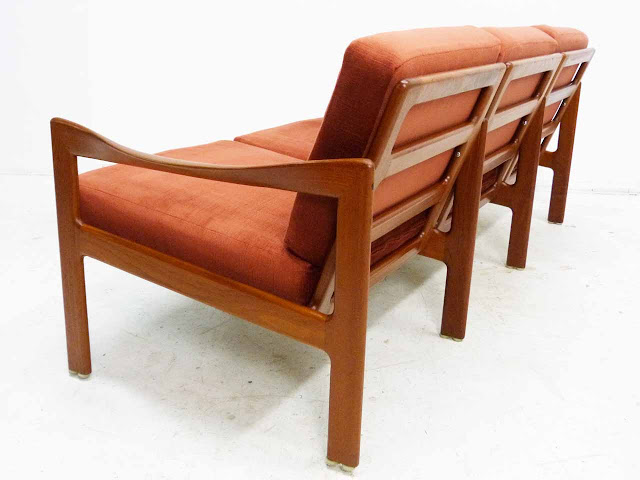 Teak Three-Seater Sofa by Illum Wikkelso Danish Modern Back Angle