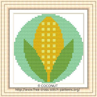 CORN VEGETABLE ICON, FREE AND EASY PRINTABLE CROSS STITCH PATTERN