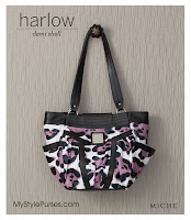 Miche Bag Harlow Demi Shell, Black and Pink Leopard Print Purse