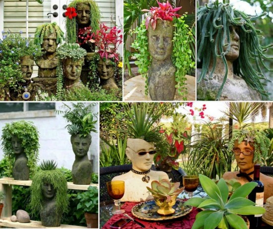 These Homemade Cement Head Planters Will Look Fantastic Around Your Garden They Re Easy And Inexpensive To Make Using A Styrofoam Wig Form As The Base