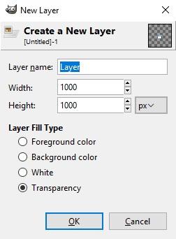 Pengaturan layer baru di GIMP