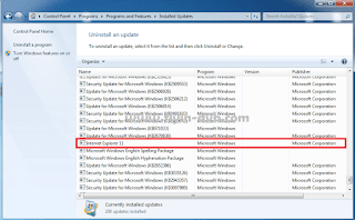 Cara menghapus update windows internet explorer langkah 3
