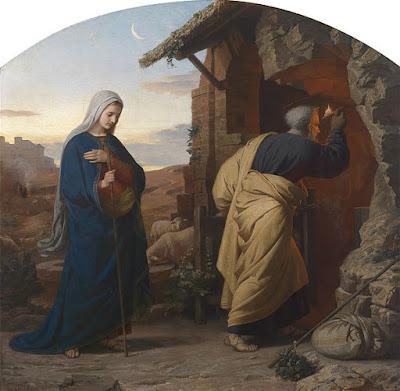 """""""Maria e José buscam um refúgio para o parto"""" (em alemão: """"Am Abend vor Christi Geburt"""") - pintura de 1869 por Michael Rieser (1828-1905). Imagem de domínio público."""