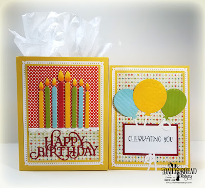 Our Daily Bread Designs Stamp Set: Celebrating You, Custom Dies: Birthday Candles, Birthday Balloons, Happy Birthday Caps, Rectangles, Double Stitched Rectangles, Snowflake Sky, Bitty Borders, Paper Collection:  Birthday Bash, Birthday Brights