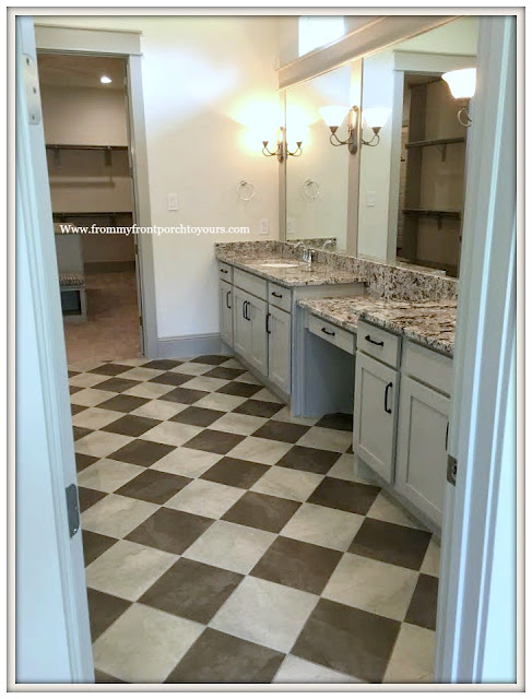 Model- Home-Tour-French-Flare-Master Bathroom-Checkered Floor-From My Front Porch To Yours