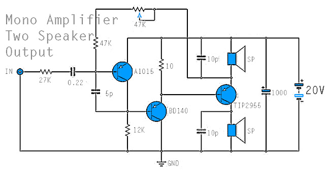 Mono Power Amplifier - A1015, BD140 ,TIP2955 Circuit Diagram