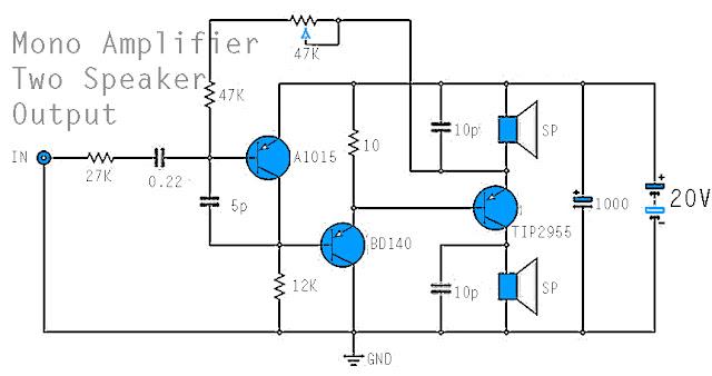 Mono Power Amplifier - A1015, BD140 ,TIP2955 Circuit Diagram