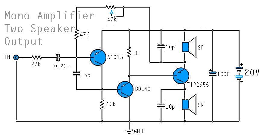 Circuit diagram: Mono Power Amplifier A1015 BD140 TIP2955