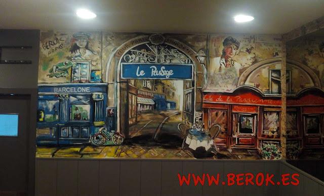 Mural pintado restaurante francés Le Passage