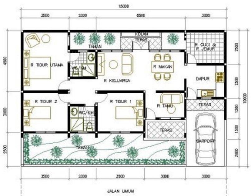 denah rumah 7x10 kamar 3 tampak minimalis