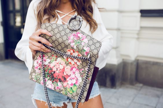 Kenza - Lace Up Bell Sleeve Shirt + Gucci Floral Print Logo Dionysus Bag