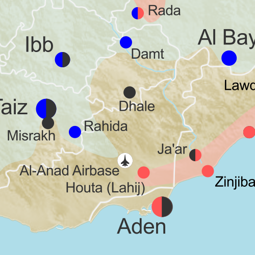 Map of territorial control in Yemen as of February 19, 2016, including territory held by the Houthi rebels and former president Saleh's forces, president-in-exile Hadi and his allies in the Saudi-led coalition and Southern Movement, Al Qaeda in the Arabian Peninsula (AQAP), and the so-called Islamic State (ISIS/ISIL). Includes recent areas of Al Qaeda takeovers and locations of other fighting, such as Shuqrah, Azzan, Habban, Ahwar, Misrakh, Fardat Nahm, and more.