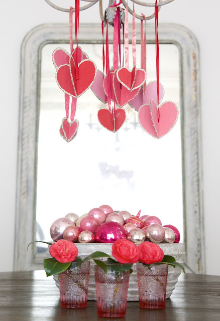"""Hearts-and-Crafts"" for Valentine's Day; hanging hearts from chandelier; Nora's Nest"