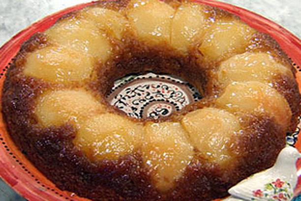 Torta invertida de peras sin manteca