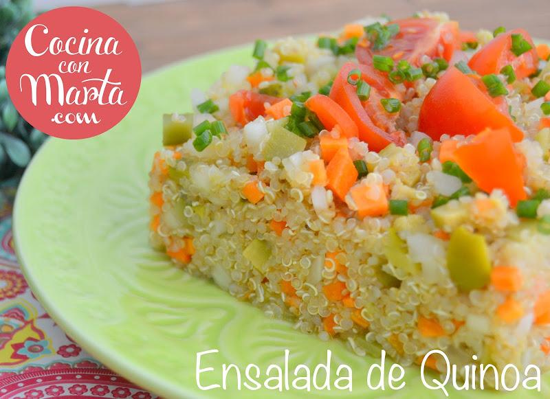 Ensalada de quinoa, receta casera, light, dieta, receta de verano, fácil, rápida, Cocina con Marta, encurtidos