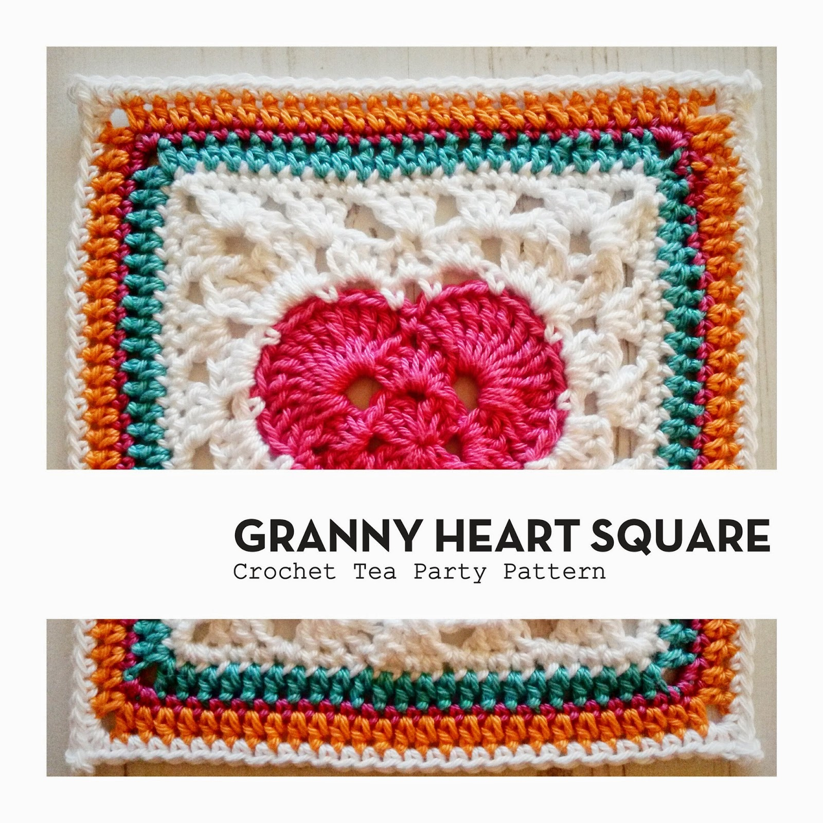 Crochet Tea Party :: Granny Heart Square Pattern
