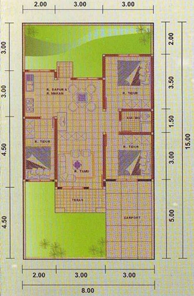 denah rumah 9x12 3 kamar tidur 2