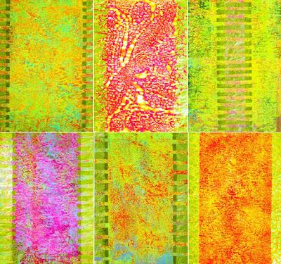 Bilder Acryl und Gold auf Zeitung, Acryl und Blattgold auf Zeitung, je DIN A4