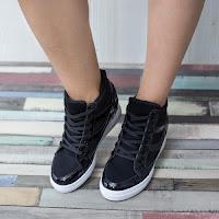 Sneakers dama Estelle negri confortabili • modlet